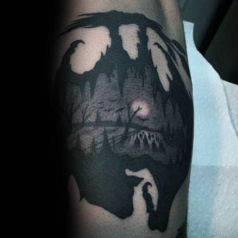 Guys Silhouette Graveyard Tattoo Design Ideas