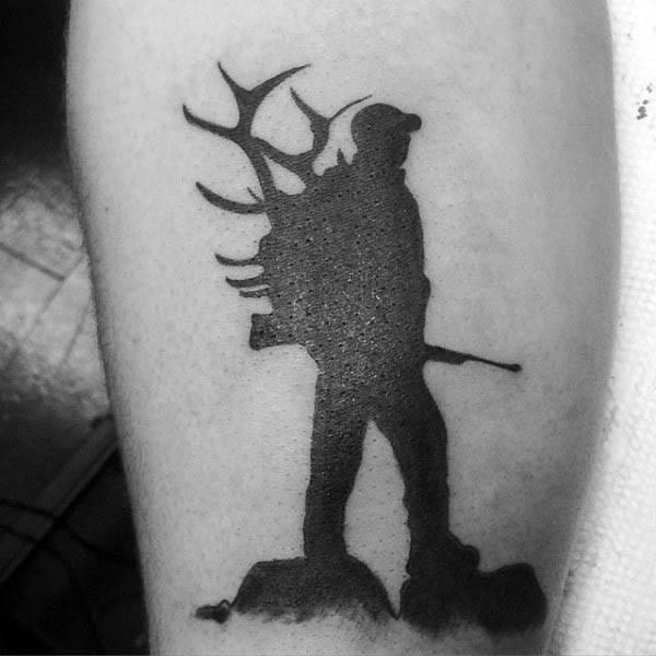 Guys Silhouette Hunter Tattoo On Arm