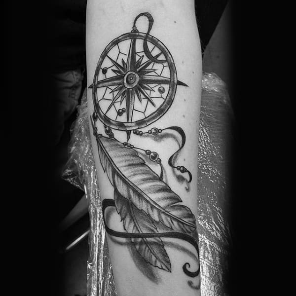 Guys Simple 3d Dreamcatcher Tattoo With Nautical Star Compass