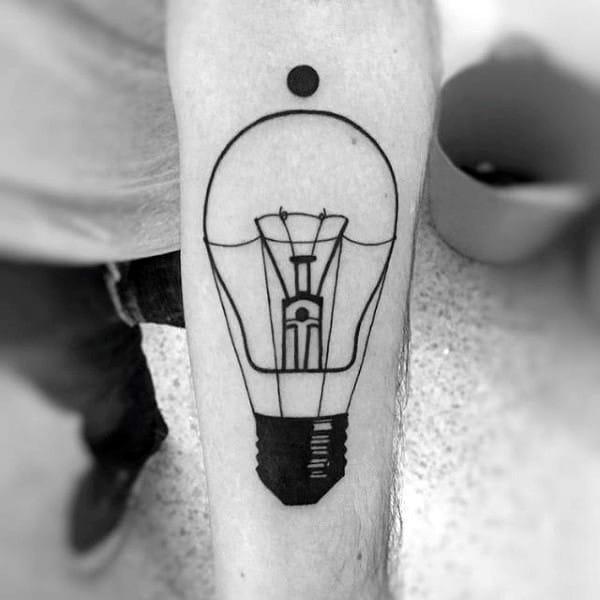 Guys Simple Black Ink Outline Light Bulb Linework Tattoos
