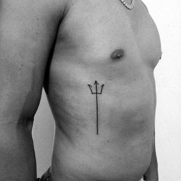Guys Simple Black Ink Trident Tattoo Deisgns On Rib Cage Side