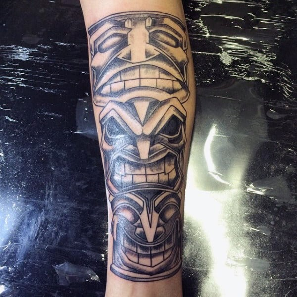 Guys Simple Black Work Totem Pole Forearm Tattoo
