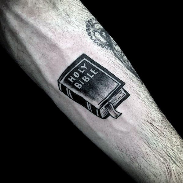 Guys Simple Christian Bible Forearm Tattoo