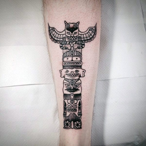 70 totem pole tattoo designs for men carved creation ink. Black Bedroom Furniture Sets. Home Design Ideas