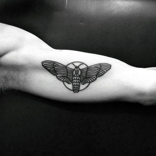 Guys Simple Inner Arm Bicep Moth Tattoos