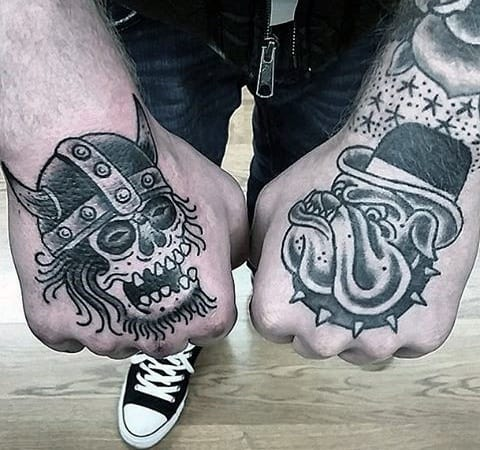 Guys Simple Traditional Skull With Viking Helmet And Bulldog With Top Hat Hand Tattoo Deisgns
