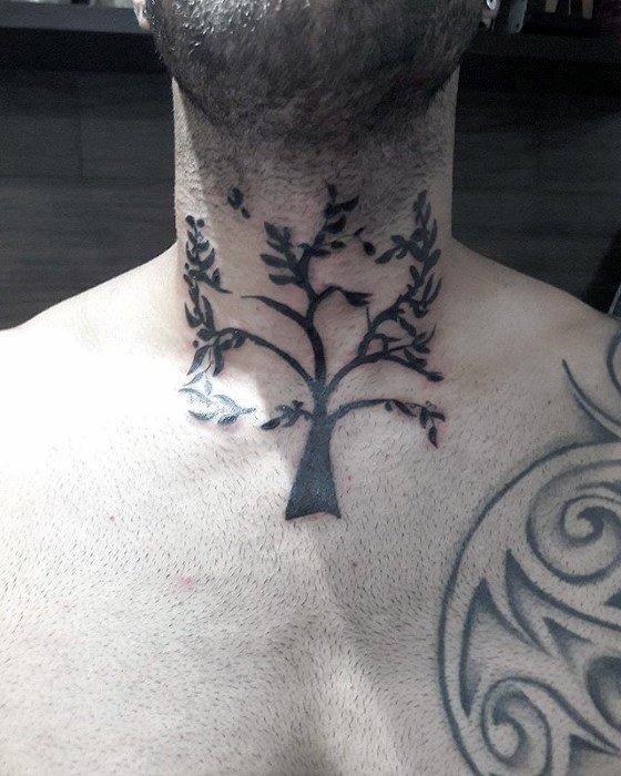 Guys Simple Tree Neck Tattoo Designs