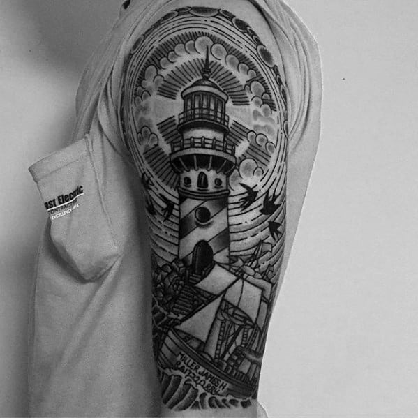 Guys Sinking Ship Lighthouse Half Sleeve Tattoo Deisgns