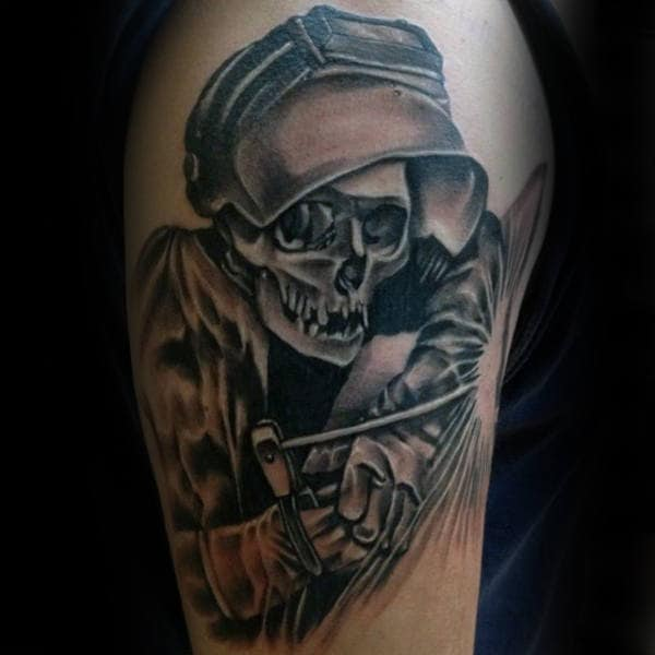 Guys Skeleton Welder Upper Arm Tattoos