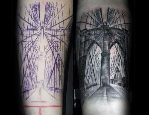 Guys Sketched Brooklyn Bridge Forearm Tattoo