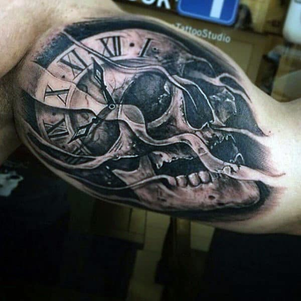 Guys Skull And Clock Inner Biceps Tattoo