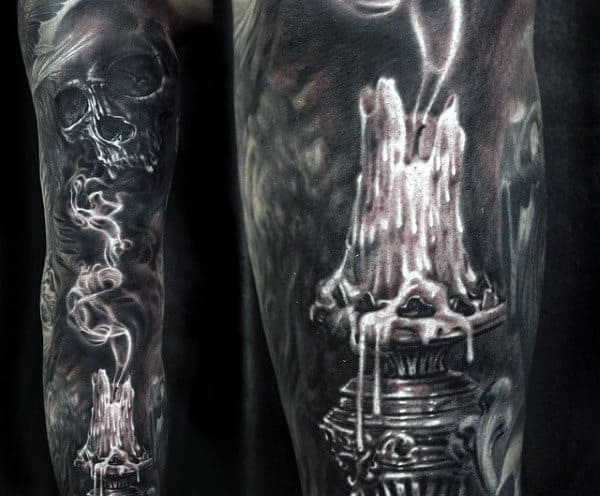 Guy's Skull And Smoke Tattoo Designs