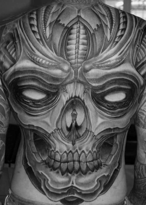 Guys Skull Back Tattoo Design Ideas