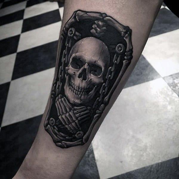 Guys Skull Chain Tattoo In Black Ink