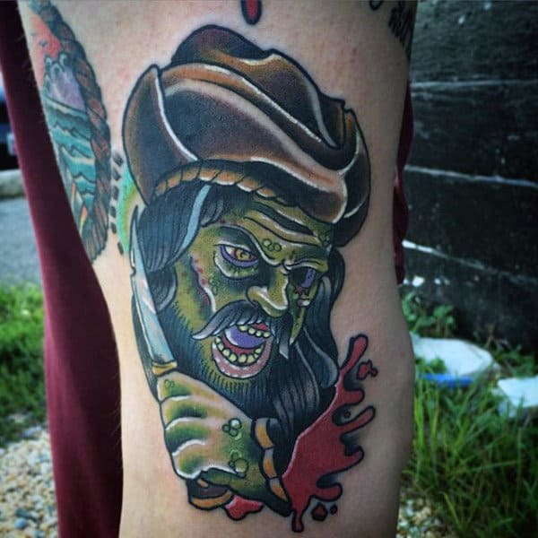 Guy's Skull Pirate Tattoo