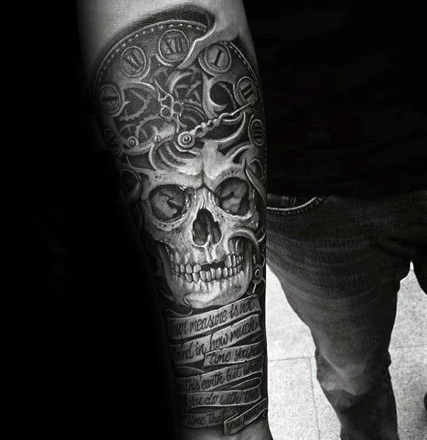 Guys Skull Roman Numeral Tattoo With Quote Banner Design