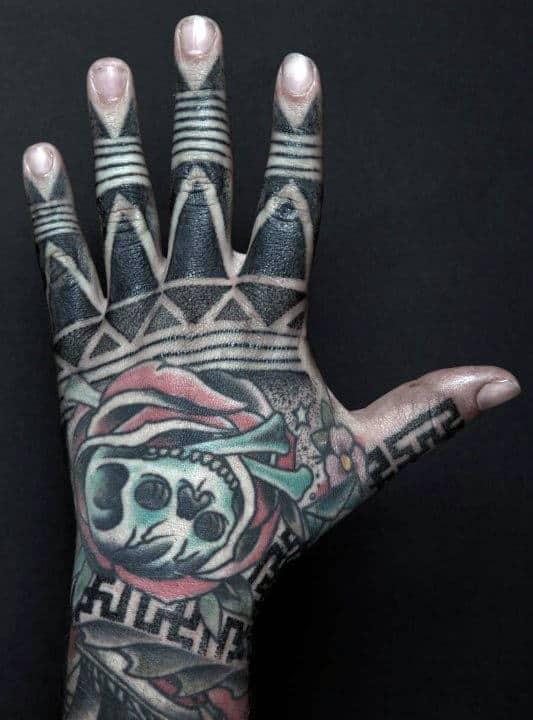 Guys Skull Tribal Hand Tattoo Designs