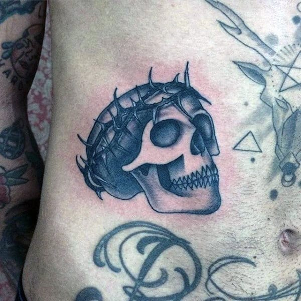 Guys Skull With Thorn Of Crown Religious Traditional Stomach Tattoos