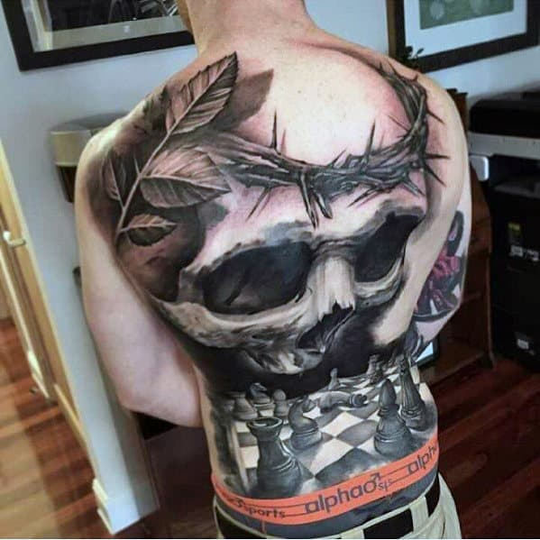 Guys Skull With Thorns And Chess Board 3d Full Back Tattoos