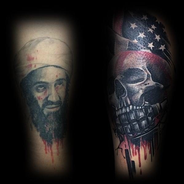 Guys Skull With Us Flag And Grenade Cover Up Arm Tattoo