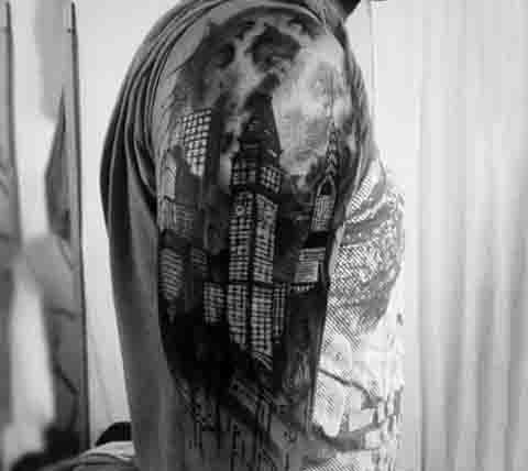 Guys Sleeve City Moon Tattoo Designs