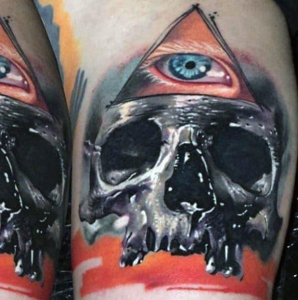 Guys Sleeves Skull Illuminati Tattoo