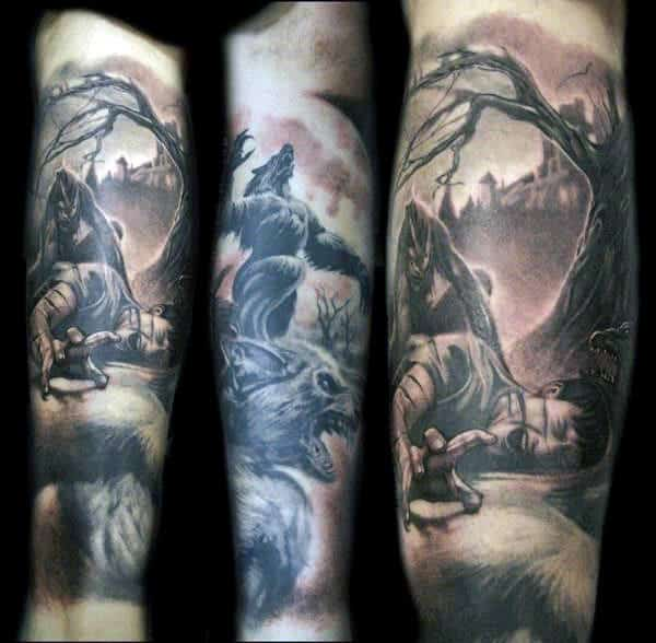 Guys Sleeves Werewolf Attack Tattoo