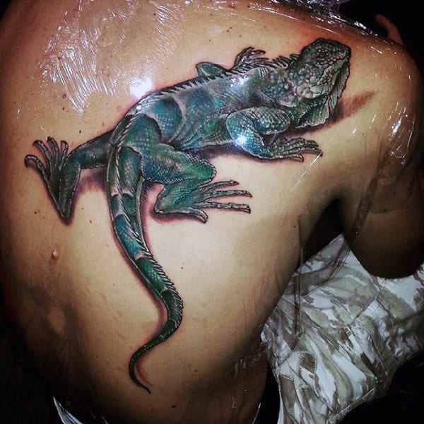 Guys Slithery Grass Colored Lizard Tattoos On Back