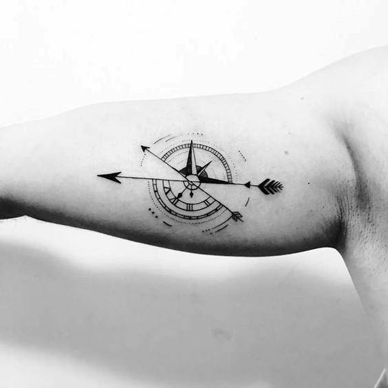 Guys Small Compass Tattoos On Inner Arm Bicep