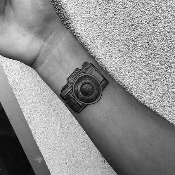 Guys Small Detailed Camera Wrist Tattoo