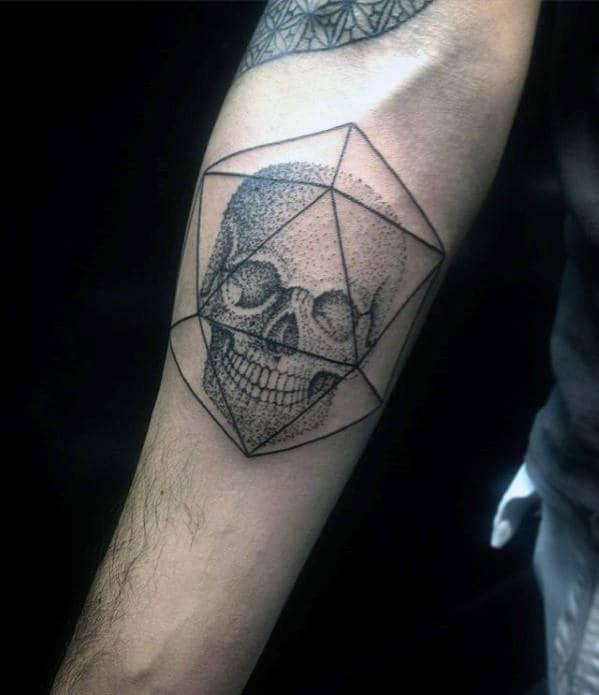 Guys Small Geometric Dotwork Inner Forearm Skull Tattoo