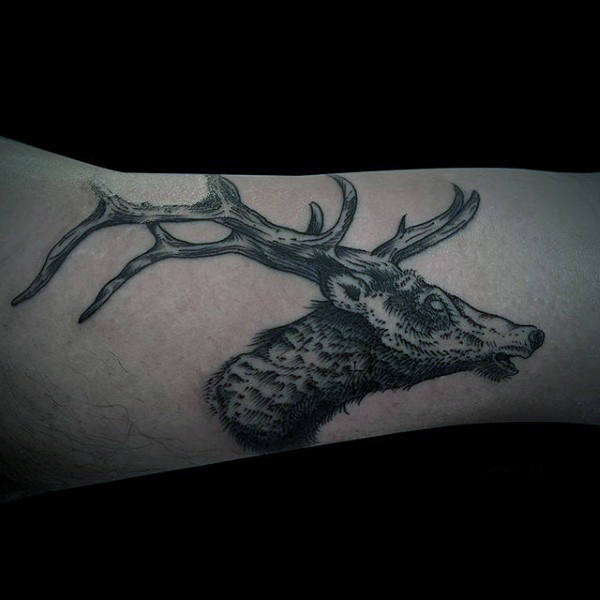 Guys Small Moose Forearm Tattoo