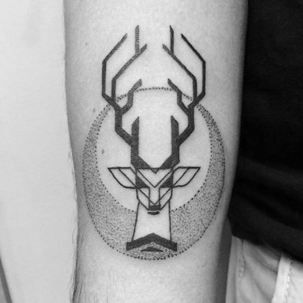 Guys Small Nature Deer Head With Moon Forearm Tattoos