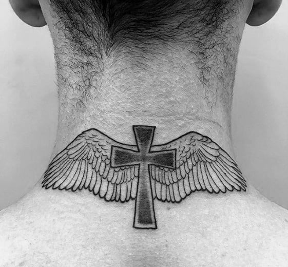 Guys Small Religious Cross With Angel Wings Neck Tattoo