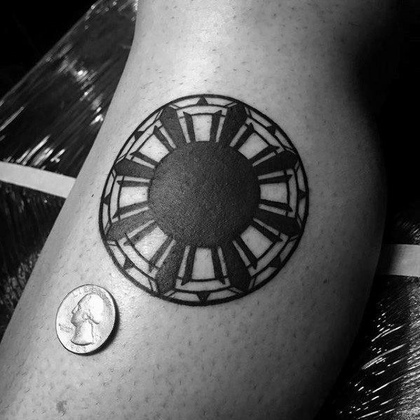 Guys Small Simple Tattoos With Filipino Sun Design On Leg