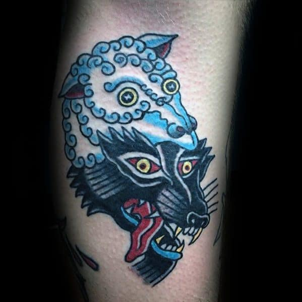 Guys Small Traditional Leg Tattoos With Wolf In Sheeps Clothing Design