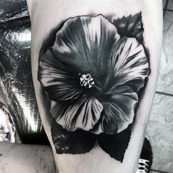 Guys Small Unique Shaded Tropical Flower Arm Tattoo Designs