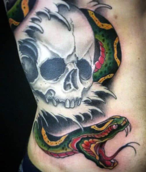 Guy's Snakes Tattoo On Rib Cage Side