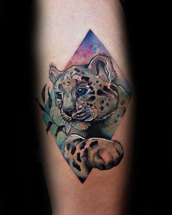 Guys Snow Leopard Tattoo Design Ideas