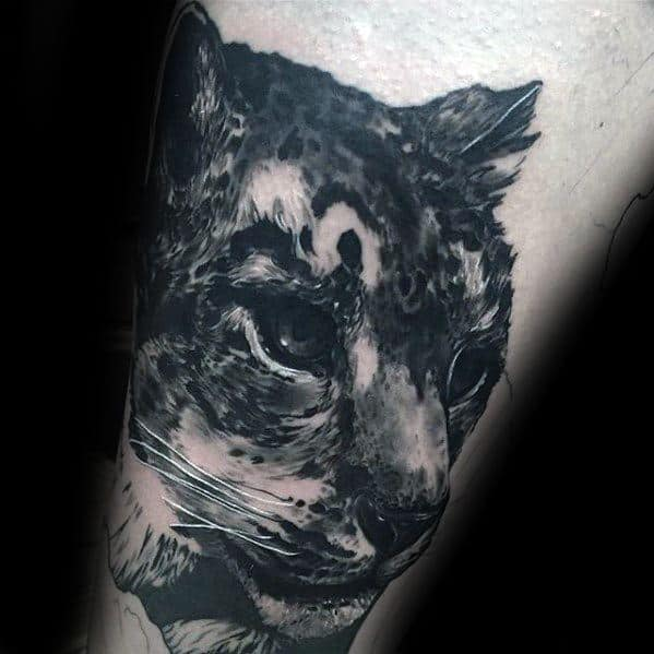 Guys Snow Leopard Tattoo Designs