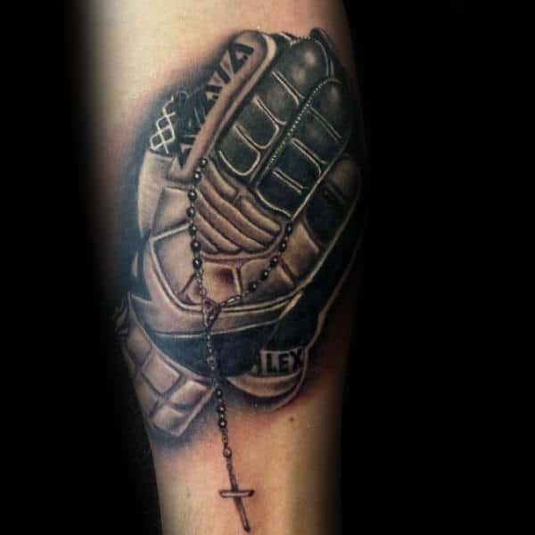 Guys Soccer Goalie Gloves Tattoo On Forearm