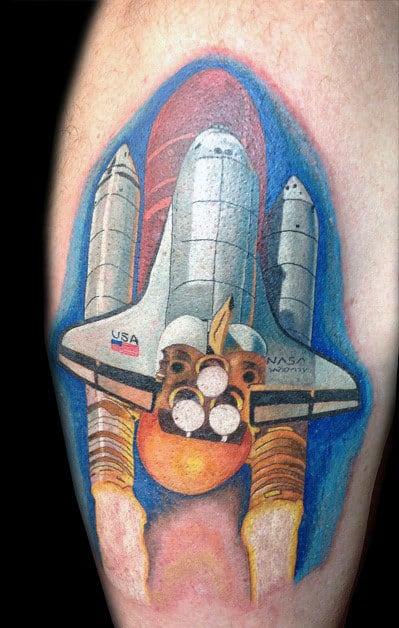 Guys Spaceship Leg Calf Tattoos