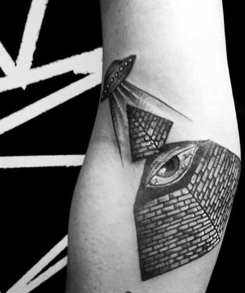 Guys Spaceship Pyramid Eye Arm Tattoo Design