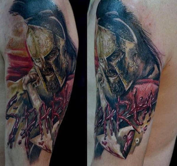Guys Spartan Arm Spear Tattoo