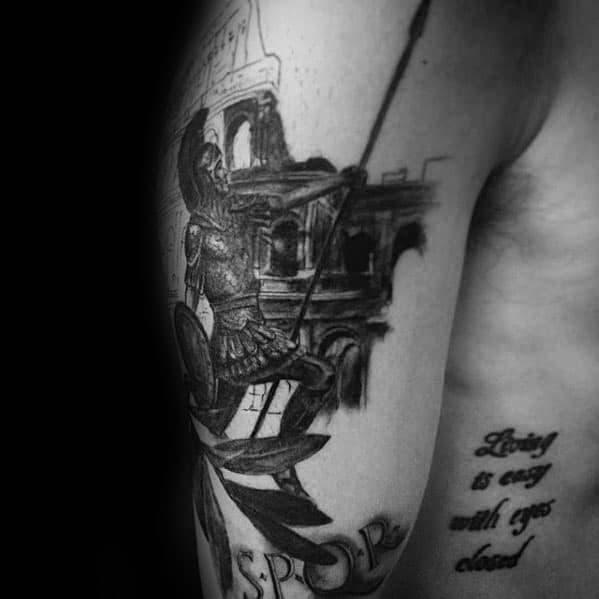 Guys Spartan Spqr Arm Tattoo