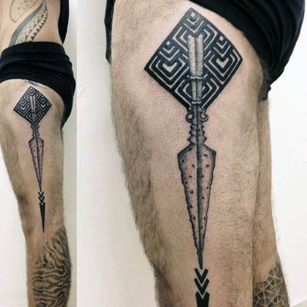 Guys Spear Thigh And Leg Tattoos