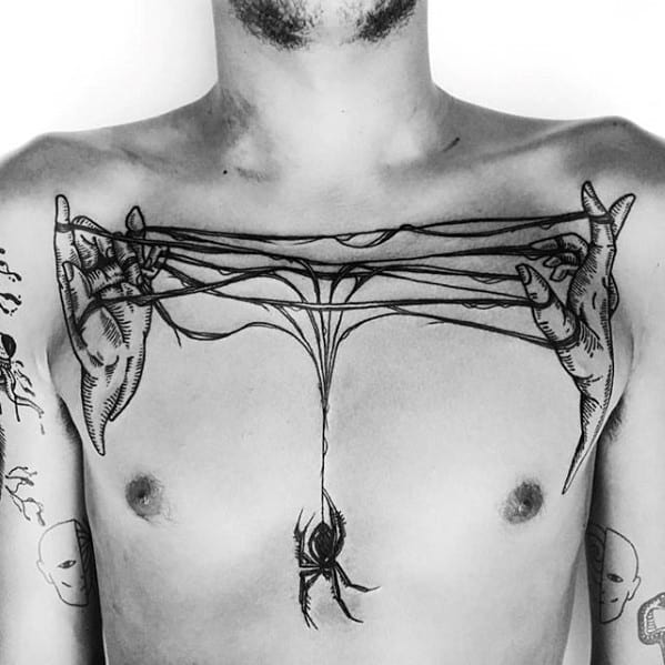 Guys Spider Web Hands Unique Chest Tattoo