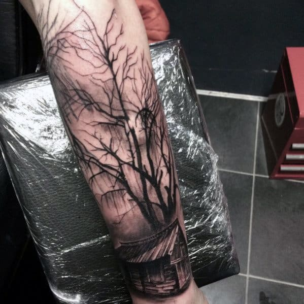 Guys Spooky Cabin In The Woods Tree Forearm Tattoo Designs