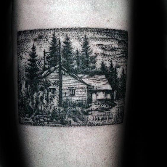 Guys Square Shaded Cabin Inner Forearm Tattoo