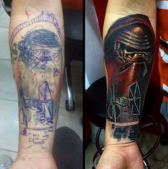 Guys Star Wars Themed Inner Forearm Tattoo Cover Up Ideas